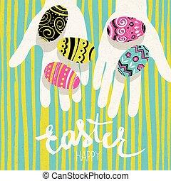 """""""happy, postal, huevos, easter"""", brillante, greetings., colores, plantilla, manos, feriado, pascua"""