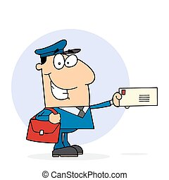 Caucasian Postal Worker Mail Man Holding A Letter