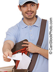 postal worker with letters