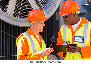 power company technical co-workers - happy power company...