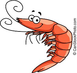Happy prawn or shrimp with curly feelers - Happy red prawn...