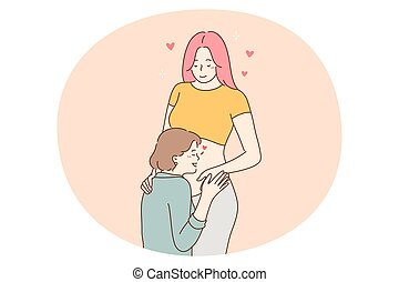 Happy pregnancy and maternity concept. Young positive pregnant woman cartoon character standing and feeling love and support of touching belly mother and friend vector illustration
