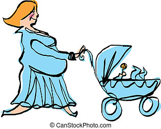 Happy pregnant mother in cyan dress pushing baby boy stroller