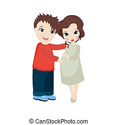 Happy pregnant woman and her husban - Vector illustration of...