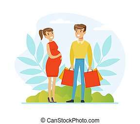 Happy Pregnant Woman and Man Expecting Baby Shopping Together Vector Illustration. Young Parents Preparing for Childbirth Buying Baby Stuff Concept