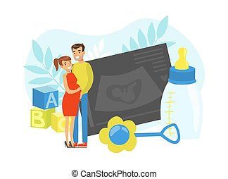 Happy Pregnant Woman and Man Expecting Baby Standing Together Vector Illustration. Young Happy Parents Preparing for Childbirth Concept
