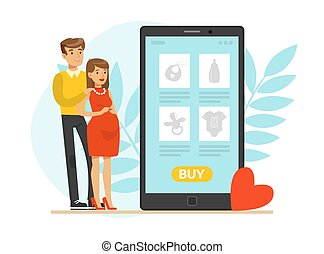 Happy Pregnant Woman and Man Expecting Baby Standing Together Vector Illustration. Young Parents Preparing for Childbirth Buying Baby Stuff Concept