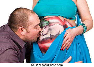 Happy pregnant woman and man