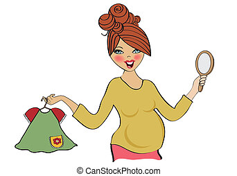 happy pregnant woman at shopping, isolated on white background