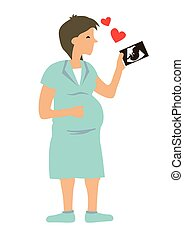 Happy pregnant woman looking at her baby ultrasound photo ...