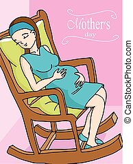 Happy pregnant woman relaxing on rocker chair