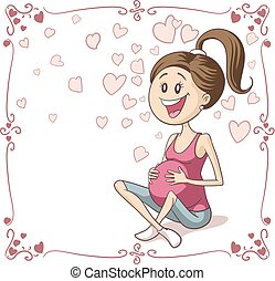 Happy Pregnant Woman Vector Cartoon
