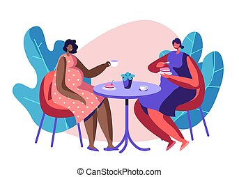 Happy Pregnant Women Spend Time Together Visiting Cafe for Cup of Tea and Chatting, Meeting Friends. Healthy Pregnancy Lifestyle. Child Bear. Girls Waiting Babies. Cartoon Flat Vector Illustration