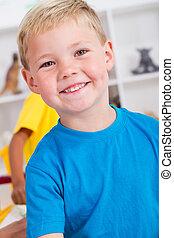 happy preschool boy