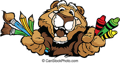 Kindergarten School Cougar with crayons and paint brushes, and art supplies in Paws Smiling Mascot Vector Illustration