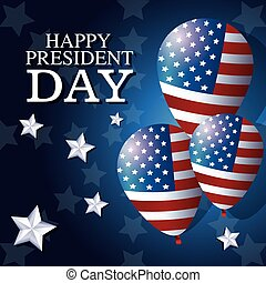 happy president day balloons flag star background