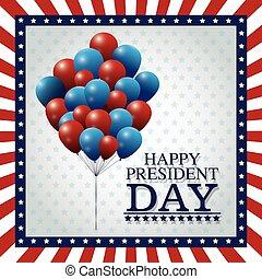 happy president day balloons flying frame flag