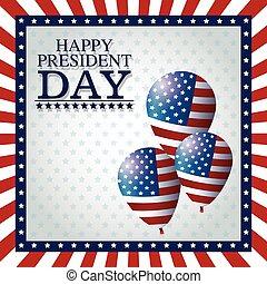 happy president day balloons frame flag