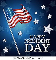 happy president day flag american star background