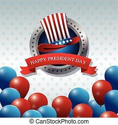 happy president day hat balloons ribbon label