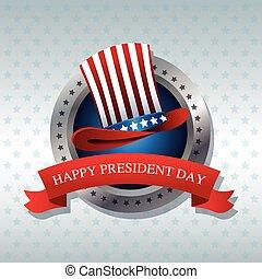 happy president day hat ribbon label