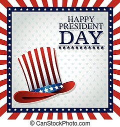 happy president day top hat american frame flag