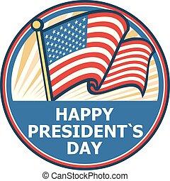 happy presidents day badge