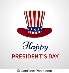 Happy Presidents Day banner with hat
