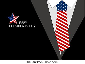 Happy presidents day design of USA necktie vector illustration