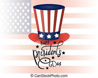 happy presidents day poster with tophat and usa flag vector...