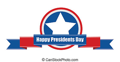 Happy Presidents Day Ribbon Vector