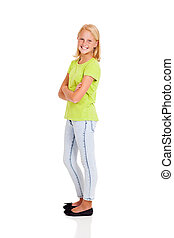 happy preteen girl side view portrait isolated on white