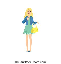 Happy Pretty Blond Girl In Blue Dress Sipping Coffee, Part ...