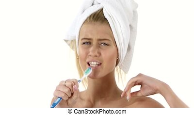 Happy pretty woman singing to tooth brush. Close up, bathroom