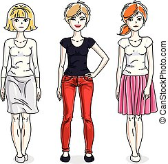Happy pretty young women standing wearing fashionable casual clothes. Vector set of beautiful people illustrations.