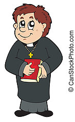 Happy priest on white background - vector illustration.