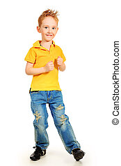 happy primary - Portrait of a little boy. Isolated over...