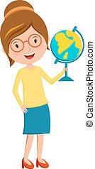 Happy primary school teacher with globe hand cartoon vector