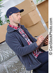 happy professional shipping courier delivery postal service