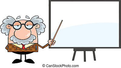 Happy Professor With Pointer - Funny Professor With Pointer...
