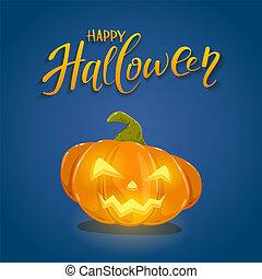 Happy Pumpkin on Blue Halloween Background