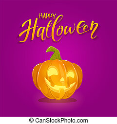 Happy Pumpkin on Purple Halloween Background