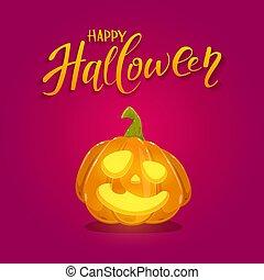 Happy Pumpkin on Red Halloween Background
