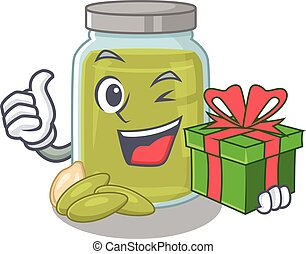 Happy pumpkin seed butter character having a gift box