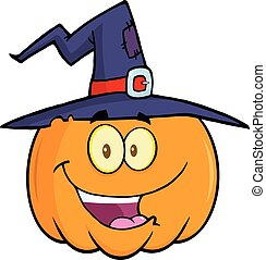 Happy Pumpkin With A Witch Hat