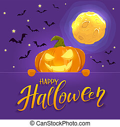 Happy Pumpkin with Moon and Bats on Halloween Background