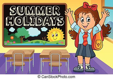 Happy pupil girl theme image 2