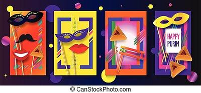 Happy Purim Carnival Jewish Holiday Greeting Card