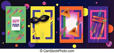 Happy Purim Jewish Holiday Greeting Card frames set