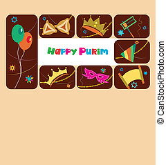 Happy purim, jewish holiday; vector illustration